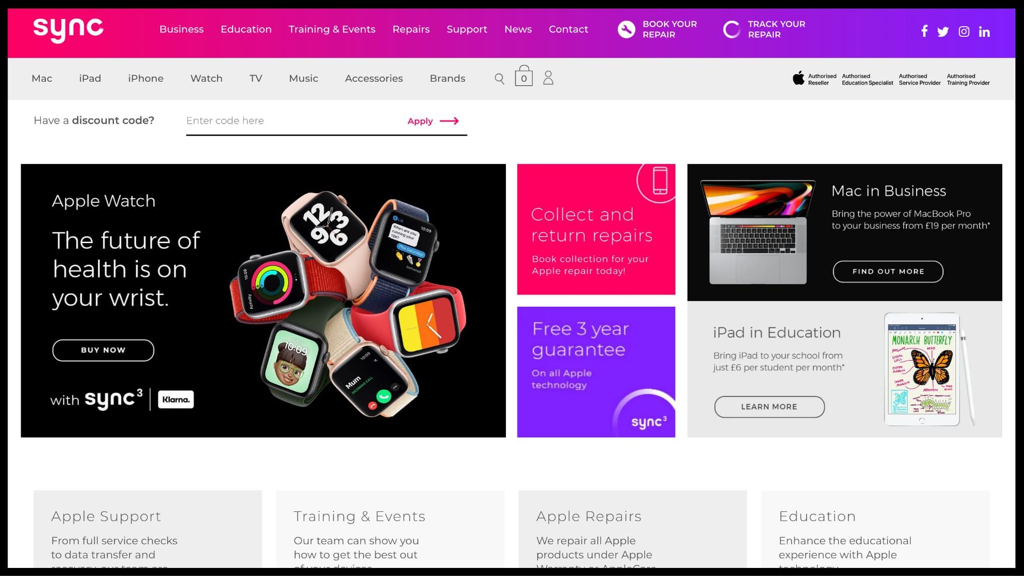 Sync website homepage desktop