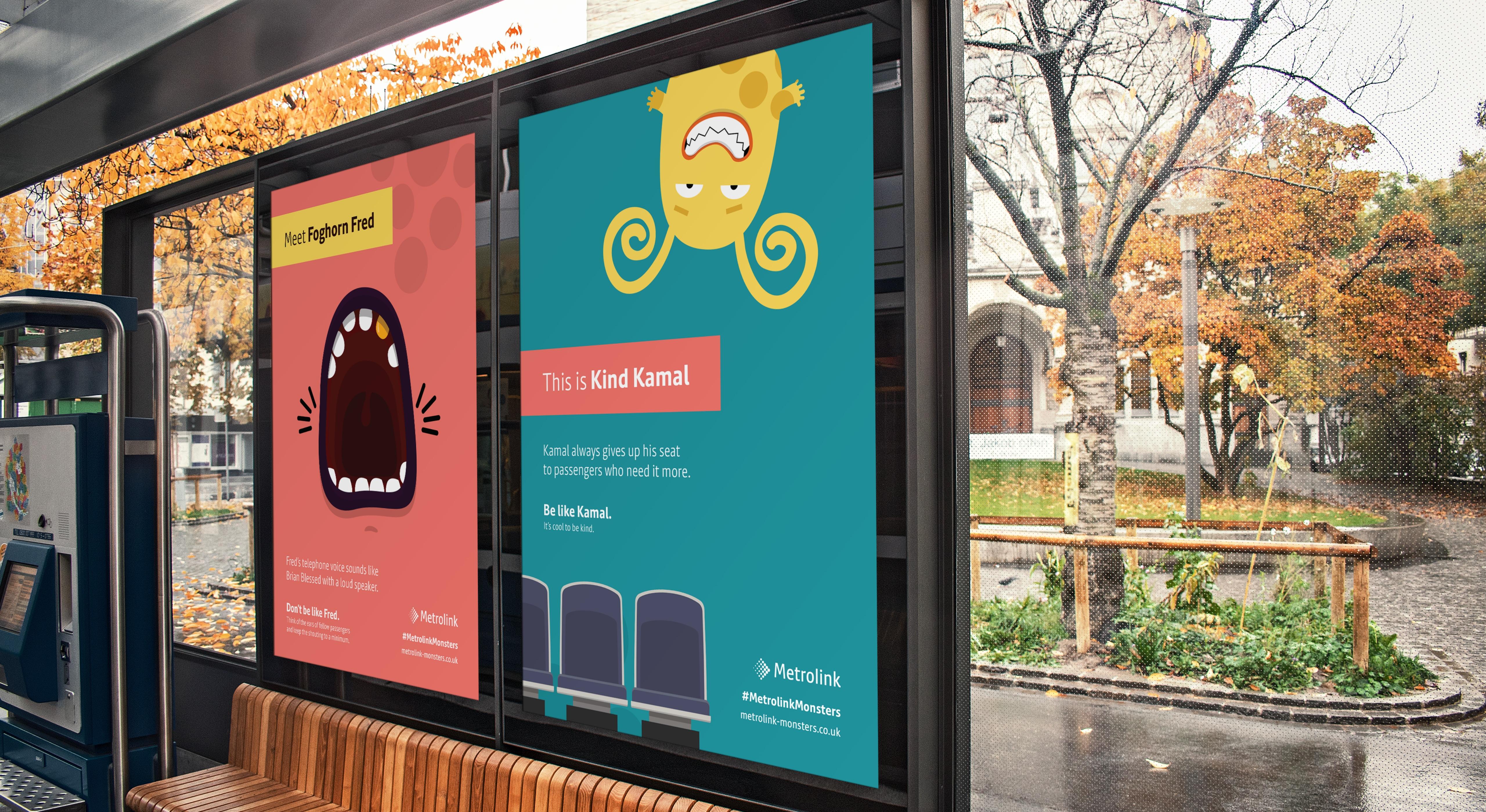 Metrolink Monsters bus stop posters