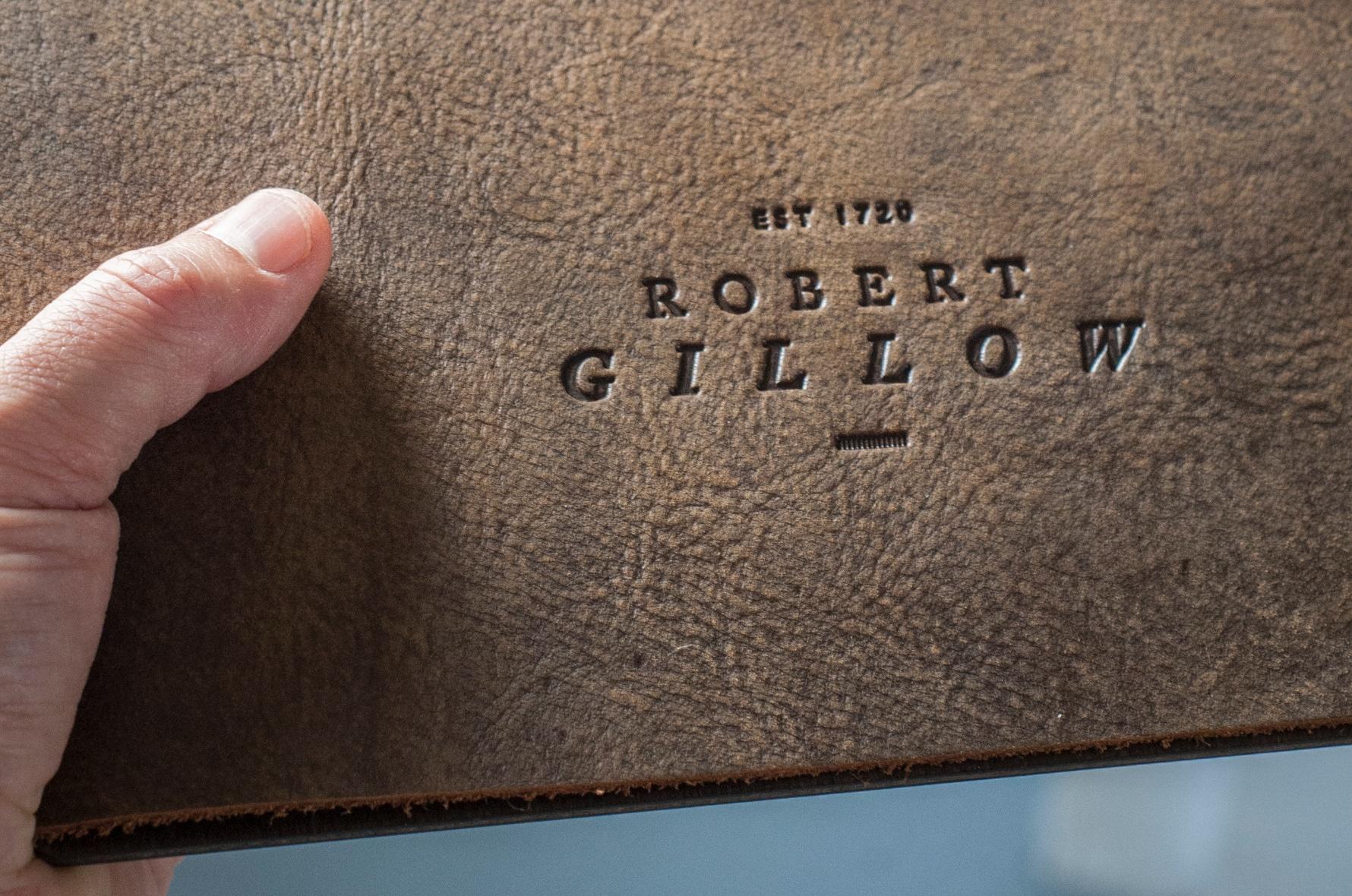 Robert Gillow leather menu cover