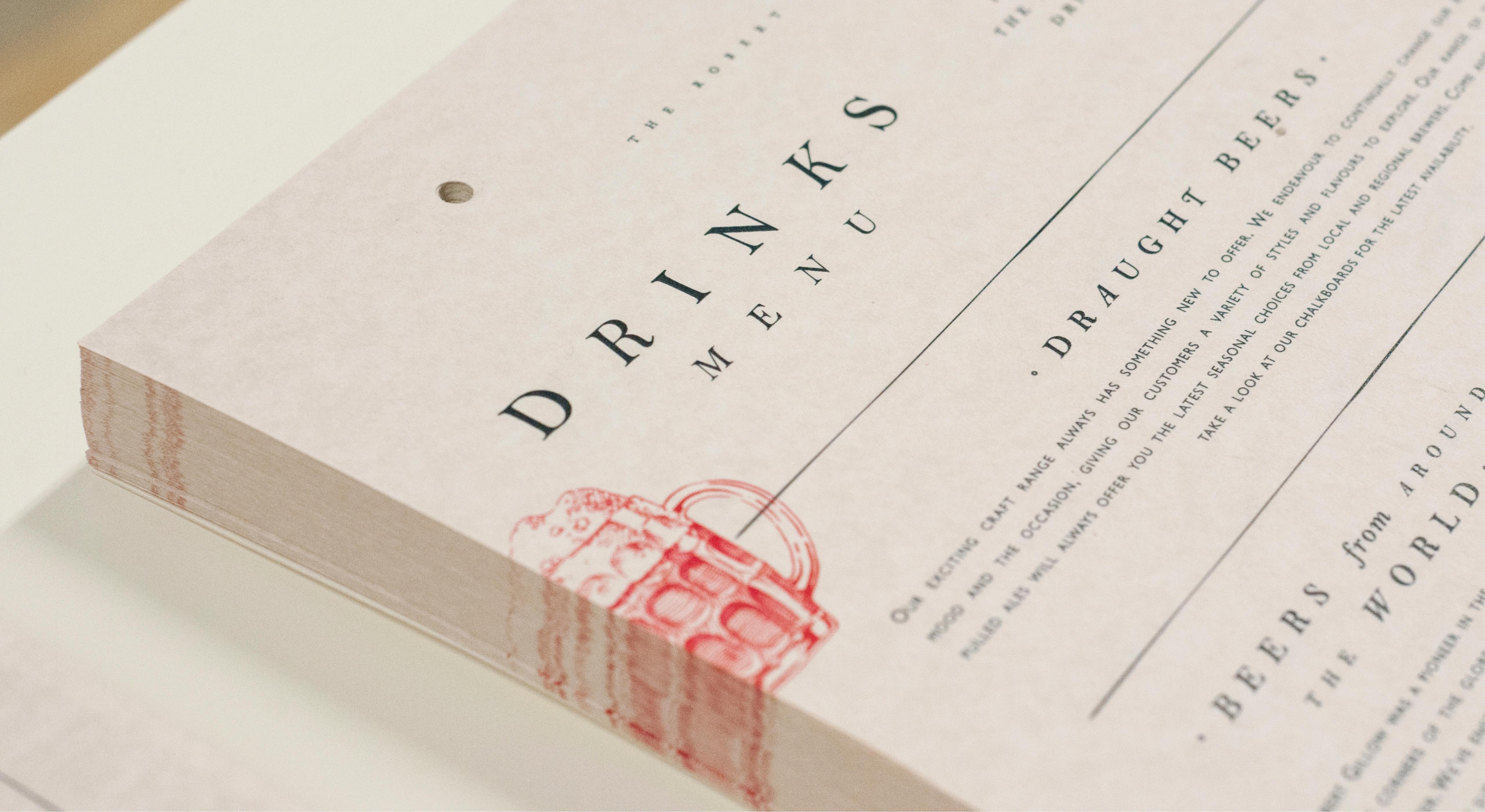 Robert Gillow drinks menu