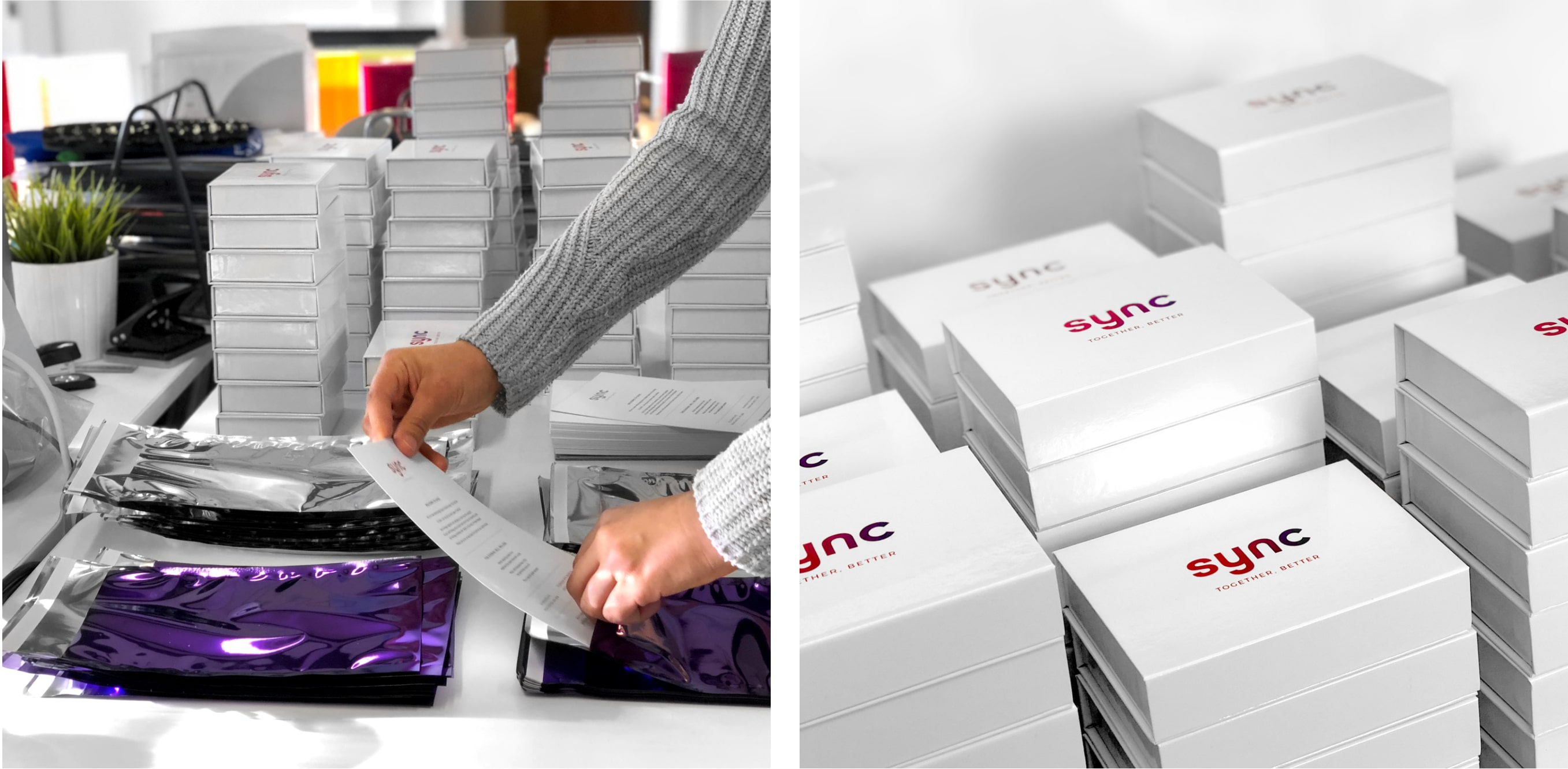 sync launch prep invites and boxes
